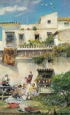 José García y Ramos (Spanish, 1852-1912) A picnic party in Seville 11 1/4 x 7in (28.4 x 17.7cm)