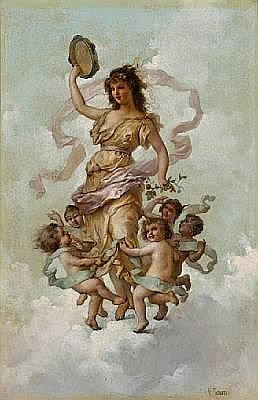 Virgilio Tojetti (Italian, 1851-1901) The muse of music with dancing putti 21 1/4 x 14 1/4in (54 x 36.2cm)