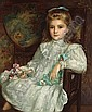 John Shirley Fox (British, born circa 1860-1939) A portrait of a young girl in a white dress holding her doll and a posy of sweet peas 30 x 25in (76.2 x 63.5cm), John Shirley Fox, Click for value