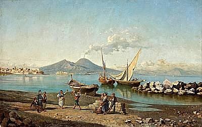 Giuseppe Carelli (Italian, 1858-1921) A view of the Bay of Naples with figures dancing on the shore 26 1/4 x 41 1/2in (66.6 x 105.4cm) unframed