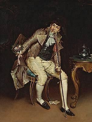 Pietro Torrini (Italian, 1852-1920) Awaiting the rendezvous 14 3/4 x 11 1/4in (37.4 x 28.5cm)
