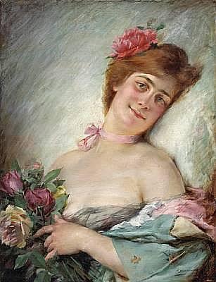 Serkis Diranian (Turkish, born 1860) A woman with flowers 25 3/4 x 19 3/4in (65.4 x 50.2cm) unframed