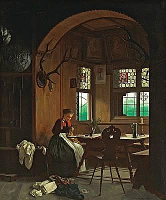 Franz Meyerheim (German, 1838-1880) The seamstress 21 1/4 x 18in (54 x 45.7cm)