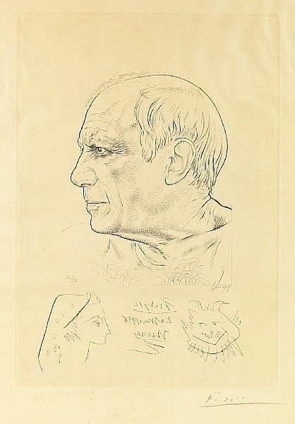 Pablo Picasso (Spanish, 1881-1973); and Paul Lemagny (French, 1905-1977) Portrait de Picasso et Remarque pour Témoignage;