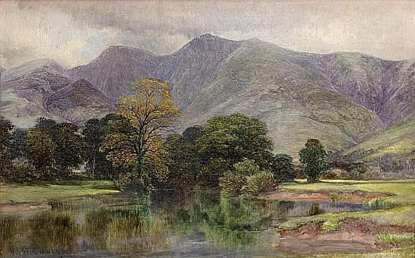William Harold Cubley (British, 1816-1896) A view of the Derwent near Keswick, Cumbria 10 x 16in