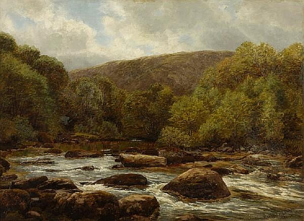 Henry Rollet (British, 19th century) A rocky river landscape 24 x 32in