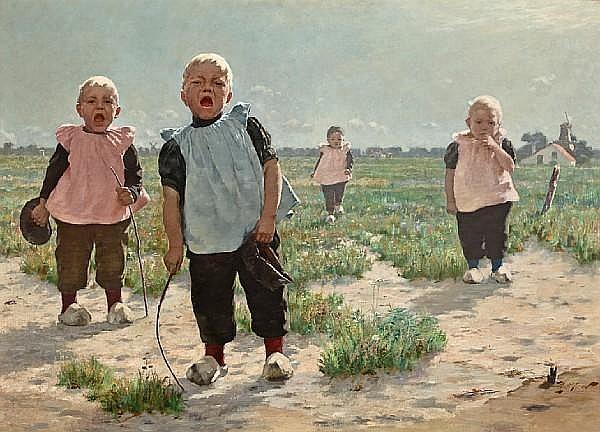 Walter MacEwen (American, 1860-1943) Gamins Hollandais 36 3/4 x 51in