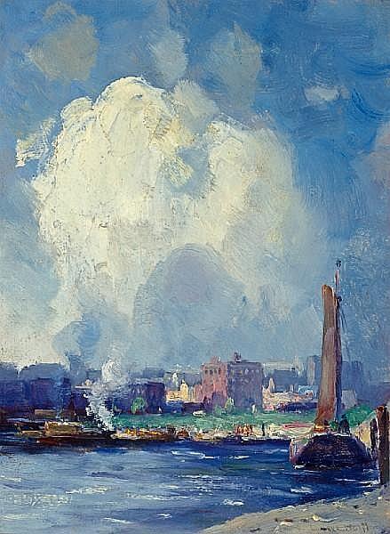 Gustav Wolff (German/American, 1863-1935) Harbor view 16 x 12in