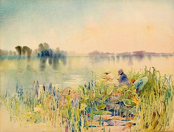 Alice Ravenel Huger Smith (American, 1876-1958) Gone fishing sight 16 x 21