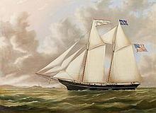 Joseph B. Smith (American, 1798-1876) The schooner