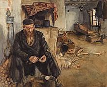 Maurice Minkowski (Polish, 1881-1930) An interior with a man pe