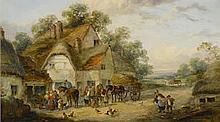 Georgina Lara (British, fl. 1862-1871) A village scene 8 x 14in