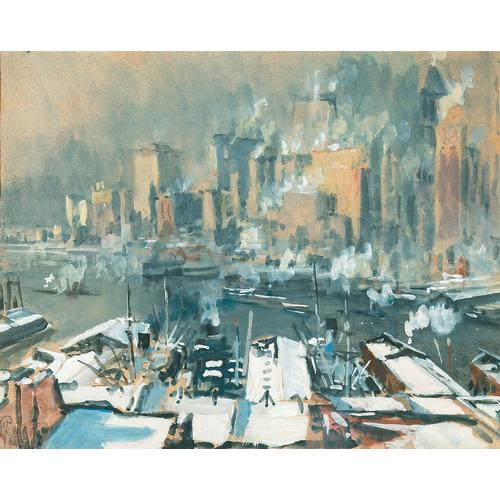 Pennell New York Harbor Watercolor