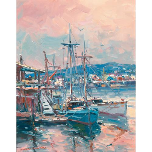 Edward Ward Pair Boats Harbor Oil