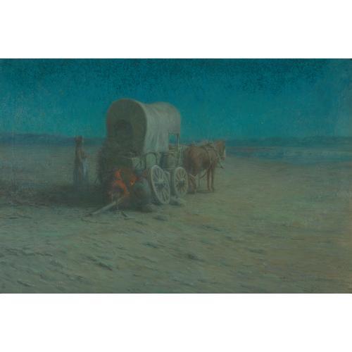 Harmer Wagon Horses Camp Fire Oil