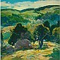 Reiffel Green Hills Landscape Oil, Charles P Reiffel, Click for value