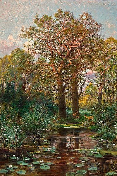 Franz Schreyer (German, born 1858) Waldesruh 49 1/4 x 33 3/4in (125 x 85.7cm)