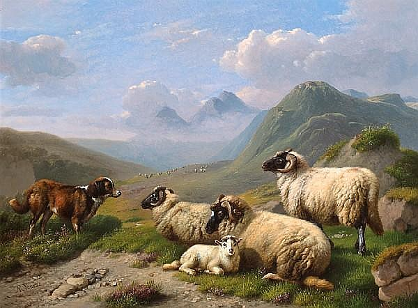 Daniel-Adolphe-Robert Jones (Belgian, 1806-1874) Guarding the sheep 16 3/4 x 23 1/4in (42.5 x 59cm)