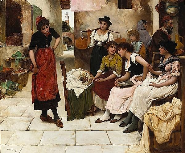 Oliver Rhys (British, active 1876-1895) New shoes for the Carnival 30 1/4 x 36 1/4in (76.8 x 92.1cm)