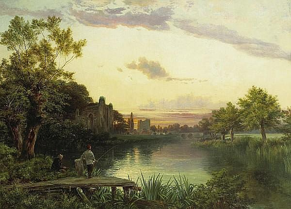 Joseph Paul Pettitt (British, 1812-1882) Anglers at sunset by the ruins of an abbey with a village beyond 30 x 41 1/2in (76.2 x 105.4cm)