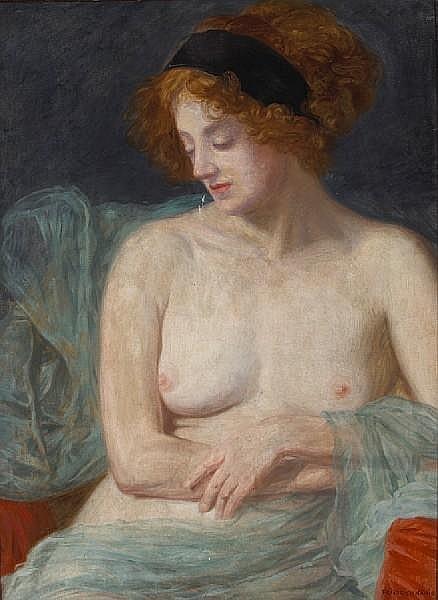 Friedrich König (Austrian, 1857-1941) Study of a draped semi-nude model 31 x 22 3/4in (78.8 x 57.7cm)