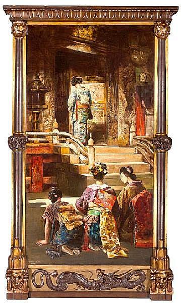 Gyula Tornai (Hungarian, 1861-1928) A Japanese princess going to church 96 1/2 x 52in (245 x 132cm)