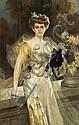 François Flameng (French, 1856-1923) A portrait of Mrs. Meunier 64 x 41 1/2in (162.6 x 105.4cm), Francois Flameng, Click for value