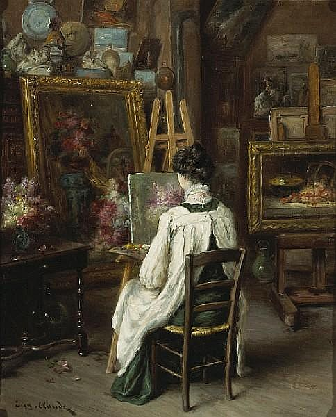 Eugene Claude (French, 1841-died circa 1922) In the artist's studio 22 x 18 1/4in (55.9 x 46.3cm)