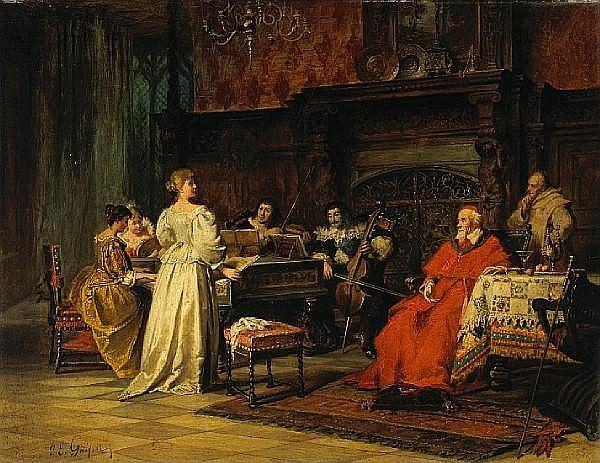 Jacob Emmanuel Gaisser (German, 1825-1899) The concert; The card game (a pair) each 13 3/4 x 17 3/4in (34.9 x 45.1cm)
