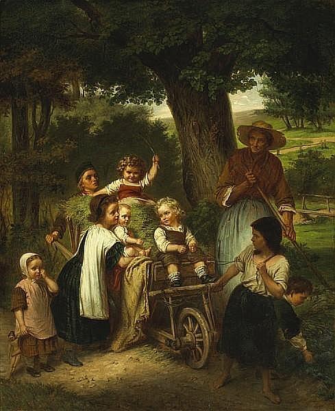 Carl Ebert (German, 1821-1885) Children playing in a hay wagon 42 1/4 x 34in (107.3 x 86.3cm)