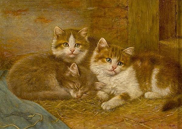 Wilhelm Schwar (German, 1860-1943) Little friends 7 x 10in (17.8 x 25.4cm)