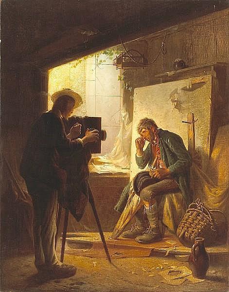 Philipp Sporrer (German, 1829-1899) A photographer in his studio 32 x 25in (81.5 x 63.5cm)