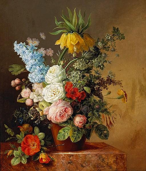 Willem Hekking (Dutch, 1796-1862) A still life of roses, a hyacinth, a fritillaria and other flowers in a terra cotta pot 21 3/4 x 18 1/4in (55.3 x 46.3cm)
