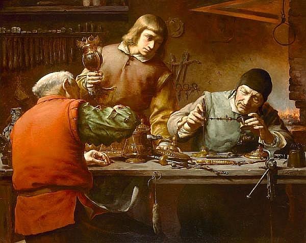 Edmond Theodor van Hove (Belgian, 1853-1913) The goldsmith's workshop 42 1/2 x 53in (108 x 134.5cm)