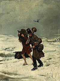 Enrique Miralles Darmanin (Spanish, 1855-1883) Travelling musicians in the snow 16 x 12 3/4in (40.6 x 32.3cm)
