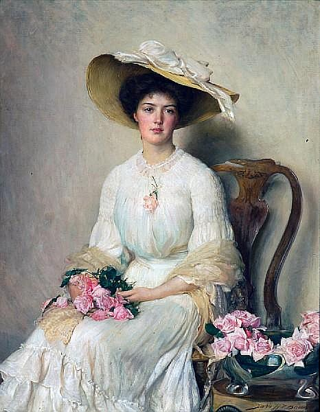John Henry Frederick Bacon (British, 1868-1914) Jeune femme aux roses 56 x 44in (142.2 x 111.7cm)