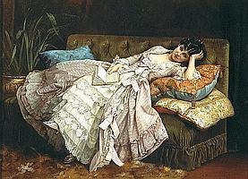 Auguste Toulmouche (French, 1829-1890) Dolce far niente 16 x 21 1/4in (40.6 x 54cm)