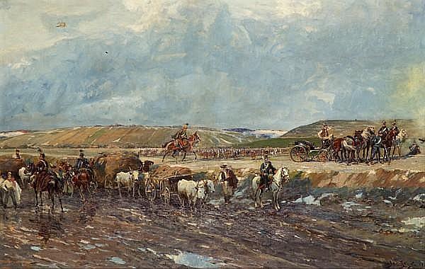 Jan Styka (French, 1858-1925) L'armée Hongroise en bataille; Convoise de l'armée Hongroise (a pair) each 39 x 61in (99 x 154.9cm)