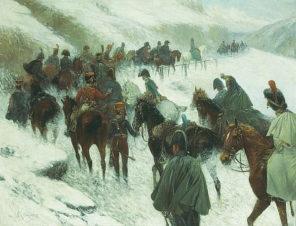 Jan van Chelminski (Polish, 1851-1925) Napoleon leading his troops through the Guadarrama Mountains 30 1/2 x 39 1/2in (77.5 x 100.4cm)
