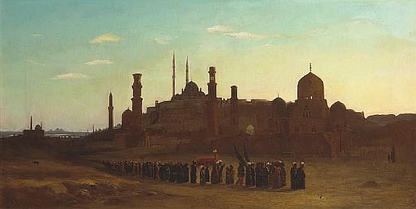 Abraham Archibald Anderson (American, 1847-1940) A procession outside a town in Egypt 19 x 37in (48.3 x 94cm)