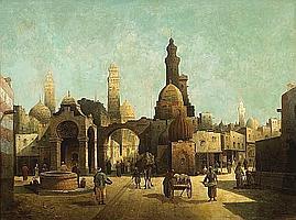 August von Siegen (German, born 1850) Figures outside a North African town 29 1/4 x 39 1/2in (74.3 x 100.3cm)