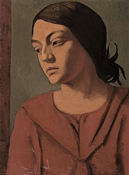 Alfredo Zalce (Mexican, 1908-2003) Girl in a red dress, 1931 24 1/4 x 18in (61.5 x 45.7cm)