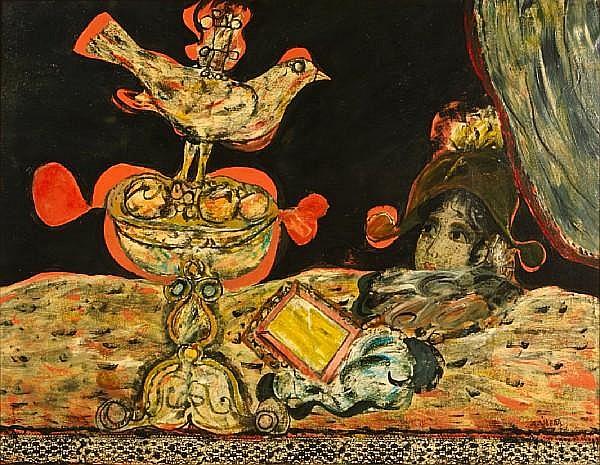 Augustin Ubeda (Spanish, 1925-2007) Pájaro algo lírico 45 1/16 x 57 1/2in (114.5 x 146cm)
