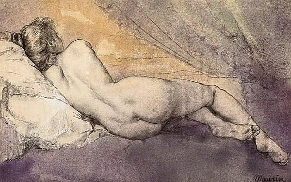 Charles Maurin (French, 1856-1914) Reclining nude 12 1/4 x 18 3/4in (31 x 47.6cm)
