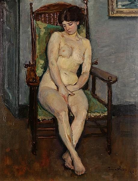 Eugen Spiro (German, 1874-1972) Nude seated in a chair, 1908 26 x 20 1/2in (66 x 50.8cm)