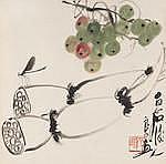 Qi Liangyi (1923-1988) Grapes and Lotus Root