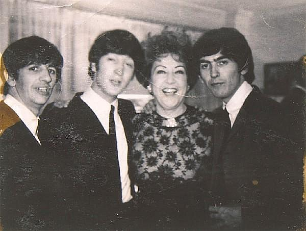 Ethel Merman candid photograph with The Beatles