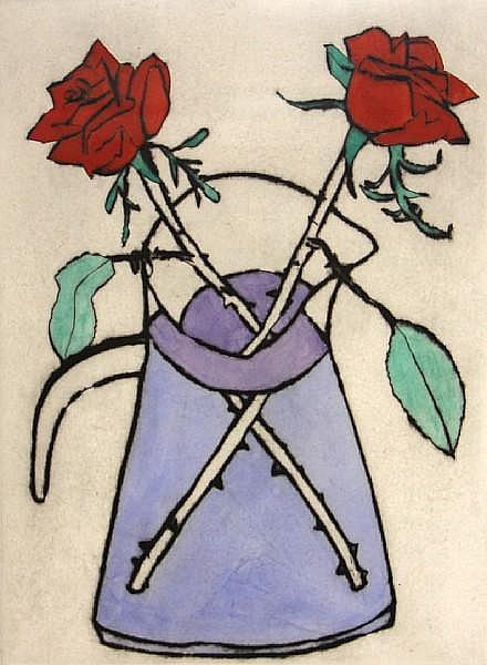 Richard Spare (British, 1951); Bluebells; Cyclamen; Purple African Violet; Scarlett Rose; (4)