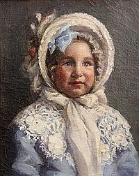 Alida Ghirardelli (American, 1881-1909) Portrait of Dorothy Clarke 16 1/2 x 15 3/4in