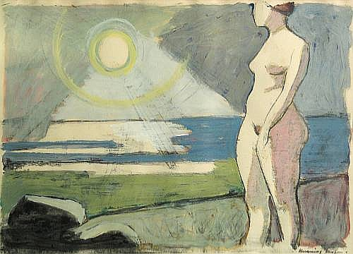 Henning Jensen (1917-1980) Untitled (Beach scene with female nude) sight 20 x 27 1/2in